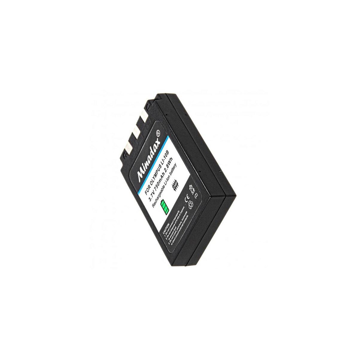 Minadax® Qualitaetsakku mit echten 750 mAh fuer Olympus µ 300 400 500, Camedia C-50 C-5000 C-760 C-765 C-770, wie LI-10B - Intelligentes Akkusystem mit Chip