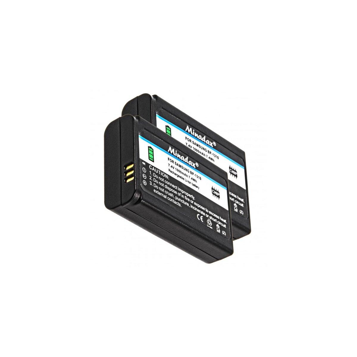 2x Minadax® Qualitaetsakku mit echten 1000 mAh fuer Samsung NX5 NX10 NX11 NX20 NX100, wie BP-1310 - Intelligentes Akkusystem mit Chip