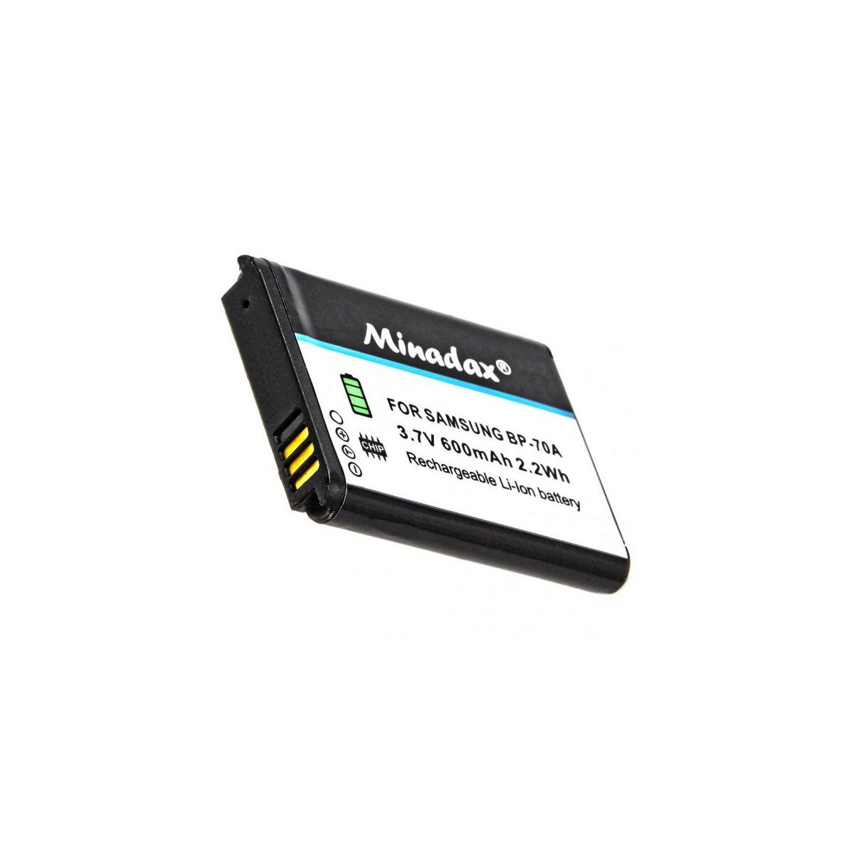 Minadax® Qualitaetsakku mit echten 600 mAh fuer Samsung ES91, ES95, ST68, ST72, ST73, WB32, DV150, DV151, ST150, WB30, WB31, wie BP-70A - Intelligentes Akkusystem mit Chip