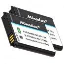2 x Minadax® Qualitaetsakku mit echten 600 mAh fuer Samsung ES91, ES95, ST68, ST72, ST73, WB32, DV150, DV151, ST150, WB30, WB31, wie BP-70A - Intelligentes Akkusystem mit Chip