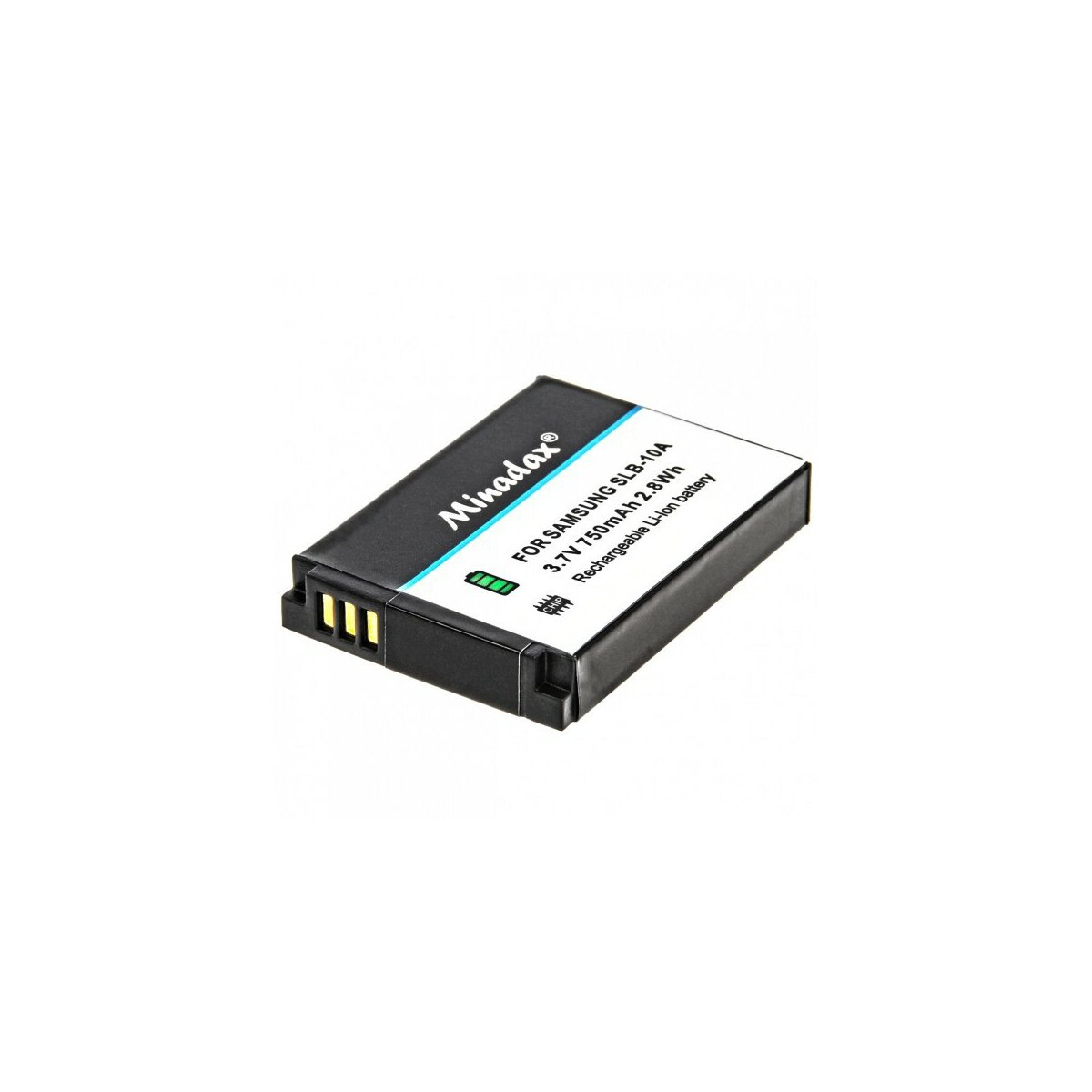 Minadax® Qualitaetsakku mit echten 750 mAh fuer Samsung EX2F, WB2100, WB250, WB252; SMART Camera WB150, WB200, WB202, WB250, WB252, WB800, wie SLB-10A - Intelligentes Akkusystem mit Chip