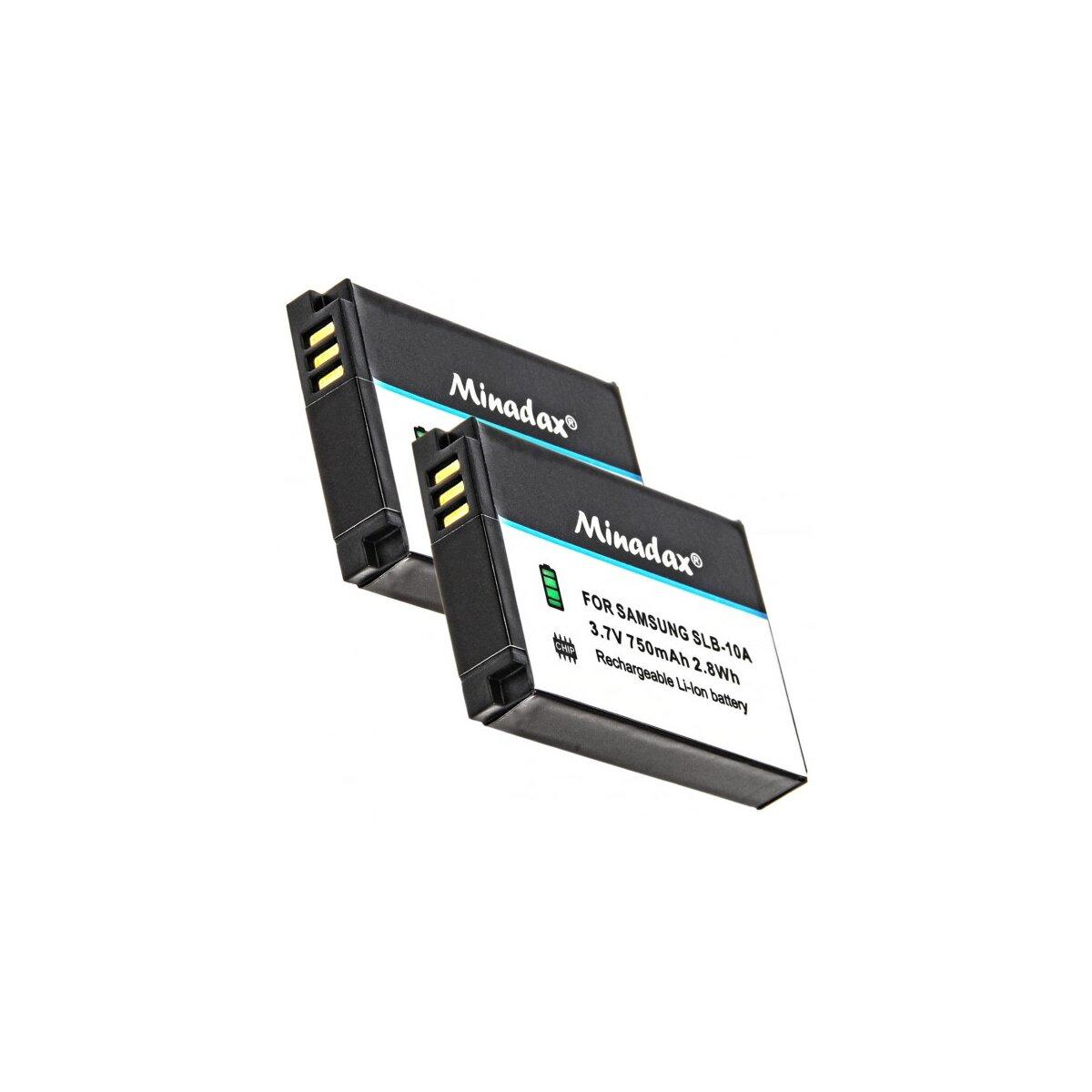 2x Minadax® Qualitaetsakku mit echten 750 mAh fuer Samsung EX2F, WB2100, WB250, WB252; SMART Camera WB150, WB200, WB202, WB250, WB252, WB800, wie SLB-10A - Intelligentes Akkusystem mit Chip