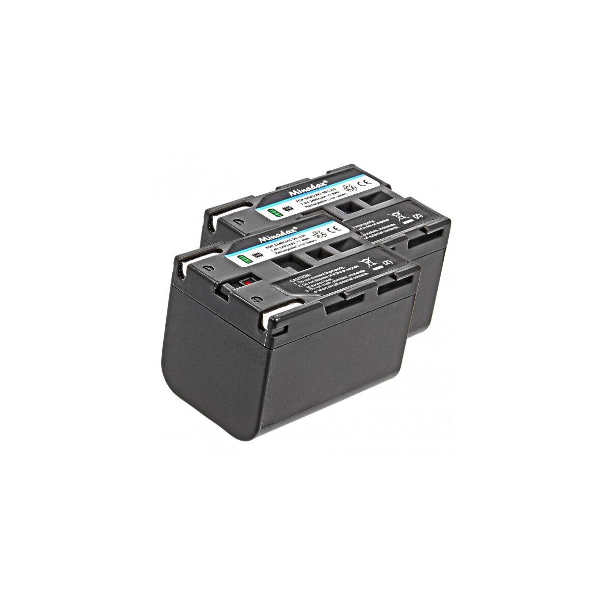 2x Minadax® Qualitaetsakku mit echten 2400 mAh fuer Medion MD41859 MD9021 MD9021n MD9035 MD9035n MD9069 MD9069n MD9090, wie SB-L220 - Intelligentes Akkusystem mit Chip