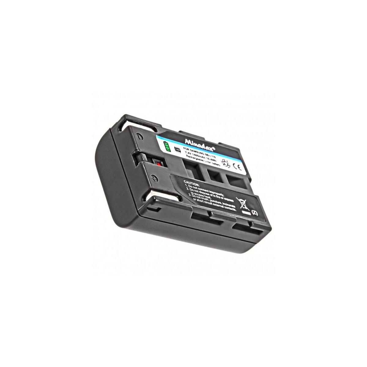 Minadax® Qualitaetsakku mit echten 1400 mAh fuer Samsung VP D10 D11 D15 D20 D31 D34 D39 D55 D65 D69 D80 D82 D85 D87i D93 D99i D101 D105 D190MSi D321i D327i D6050i, wie SB-L110 - Intelligentes Akkusystem mit Chip
