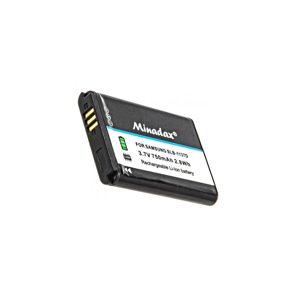 Minadax® Qualitaetsakku mit echten 750 mAh fuer Samsung Digimax i85 L74w L210 NV11 NV24HD NV30 NV40 NV100HD, wie SLB-1137D - Intelligentes Akkusystem mit Chip