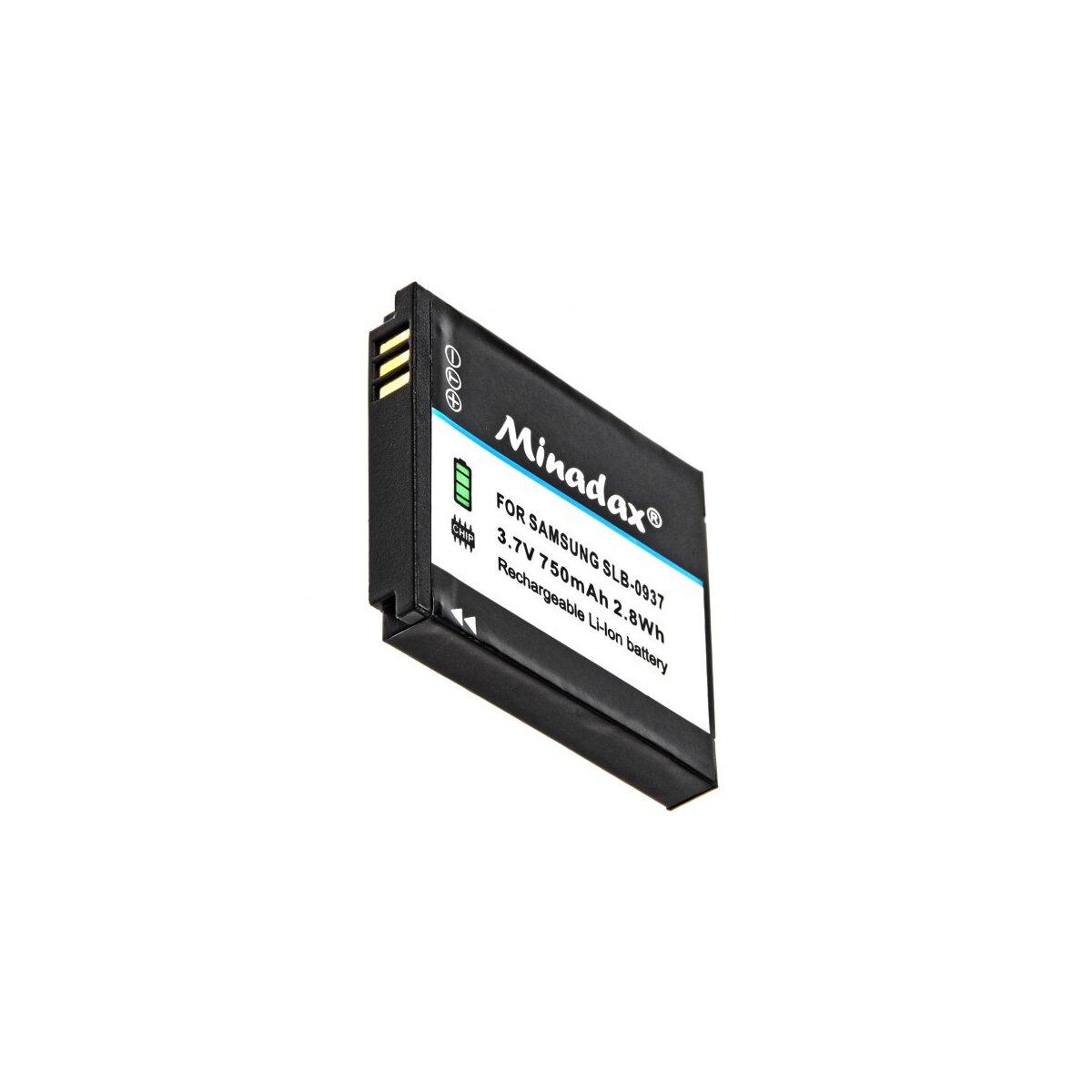 Minadax® Qualitaetsakku mit echten 750 mAh fuer Samsung Digimax L830, NV4, PL10, NV33, L730, CL5, i8, wie SLB-0937 - Intelligentes Akkusystem mit Chip