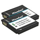 2x Minadax® Qualitaetsakku mit echten 750 mAh fuer Samsung Digimax L830, NV4, PL10, NV33, L730, CL5, i8, wie SLB-0937 - Intelligentes Akkusystem mit Chip