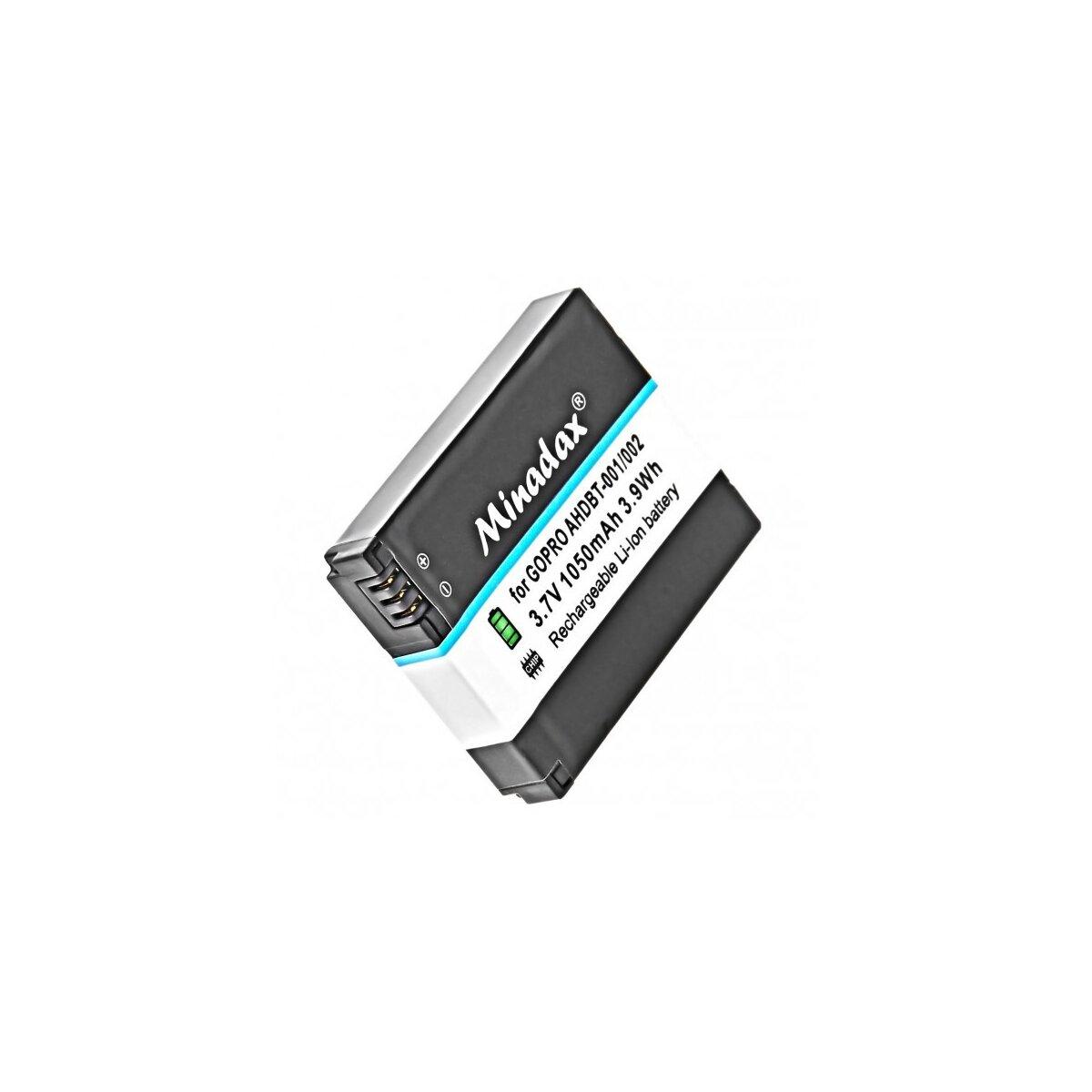 Minadax Qualitätsakku mit echten 900mAh kompatibel für GoPro Hero 3 / Hero 3+ Ersatz für  AHDBT-302 / AHDBT-301 / AHDBT-201 - Intelligentes Akkusystem mit Chip