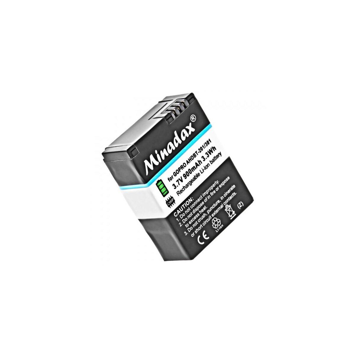 Minadax® Qualitaetsakku mit echten 900mAh fuer GoPro Hero 3 / Hero 3+ wie der AHDBT-302 / AHDBT-301 / AHDBT-201 - Intelligentes Akkusystem mit Chip
