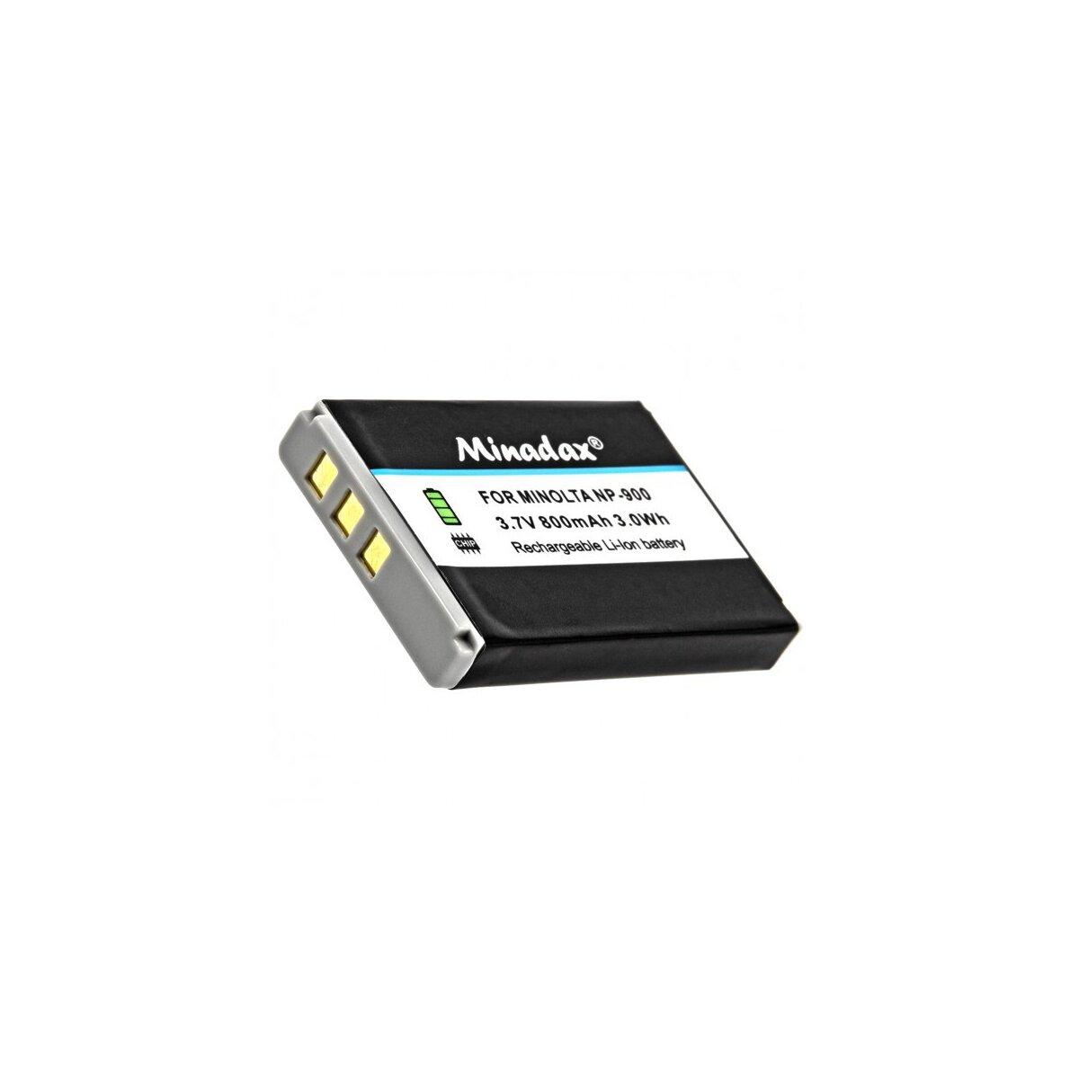 Minadax® Qualitaetsakku mit echten 800 mAh fuer Minolta E40, E50, D4, Aldi-X5, Np-900, wie NP-900 - Intelligentes Akkusystem mit Chip
