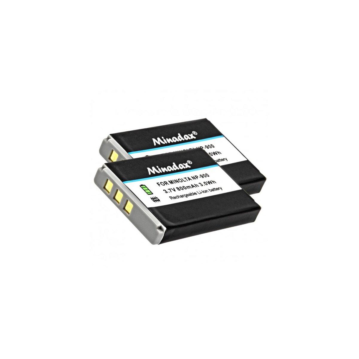 2x Minadax® Qualitaetsakku mit echten 800 mAh fuer Minolta E40, E50, D4, Aldi-X5, Np-900, wie NP-900 - Intelligentes Akkusystem mit Chip