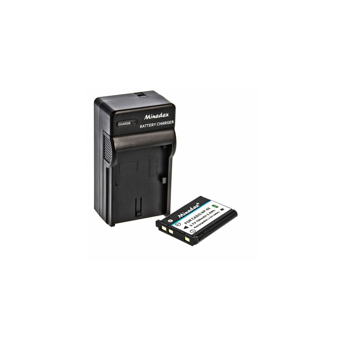 Minadax® Ladegerät 100% kompatibel mit Casio NP-80 inkl. Auto Ladekabel, Ladeschale austauschbar + 1x Akku Ersatz für NP-80