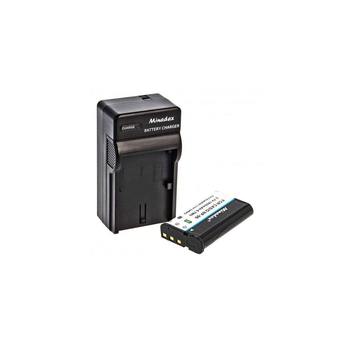 Minadax® Ladegeraet 100% kompatibel fuer Casio NP-90 inkl. Auto Ladekabel, Ladeschale austauschbar + 1x Akku wie NP-90