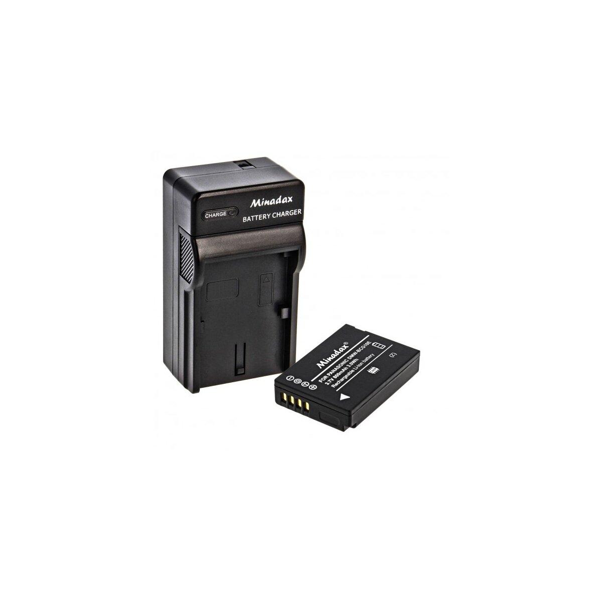 Minadax® Ladegeraet 100% kompatibel fuer Panasonic DMW-BCG10E inkl. Auto Ladekabel, Ladeschale austauschbar + 1x Akku wie DMW-BCG10E