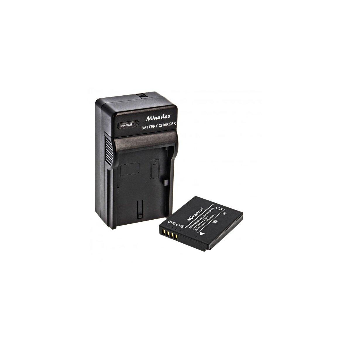 Minadax® Ladegeraet 100% kompatibel fuer Panasonic DMW-BCF10E inkl. Auto Ladekabel, Ladeschale austauschbar + 1x Akku wie DMW-BCF10E