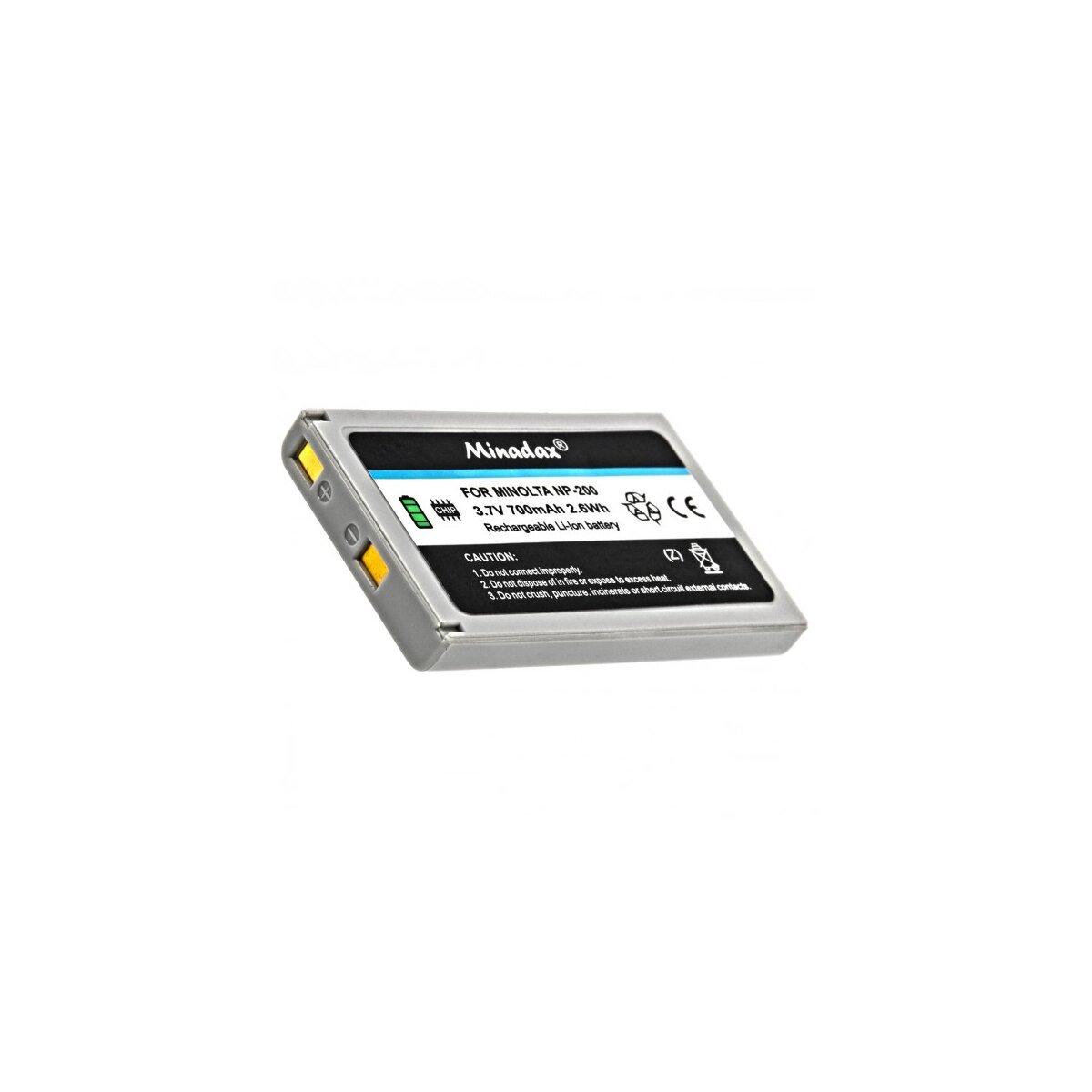 2x Minadax® Qualitaetsakku mit echten 700 mAh fuer Minolta NP-200, wie NP-200 - Intelligentes Akkusystem mit Chip