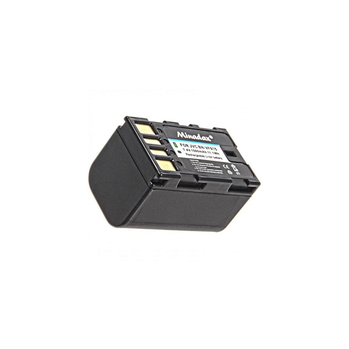Minadax® Qualitaetsakku mit echten 1500 mAh fuer JVC GR D720 D720EX D725 D740 D740EX D745 D750 D760 D770 D770EX D771 D775 D790 D796 D815 D818 D825 D860, wie BN-VF815 - Intelligentes Akkusystem mit Chip
