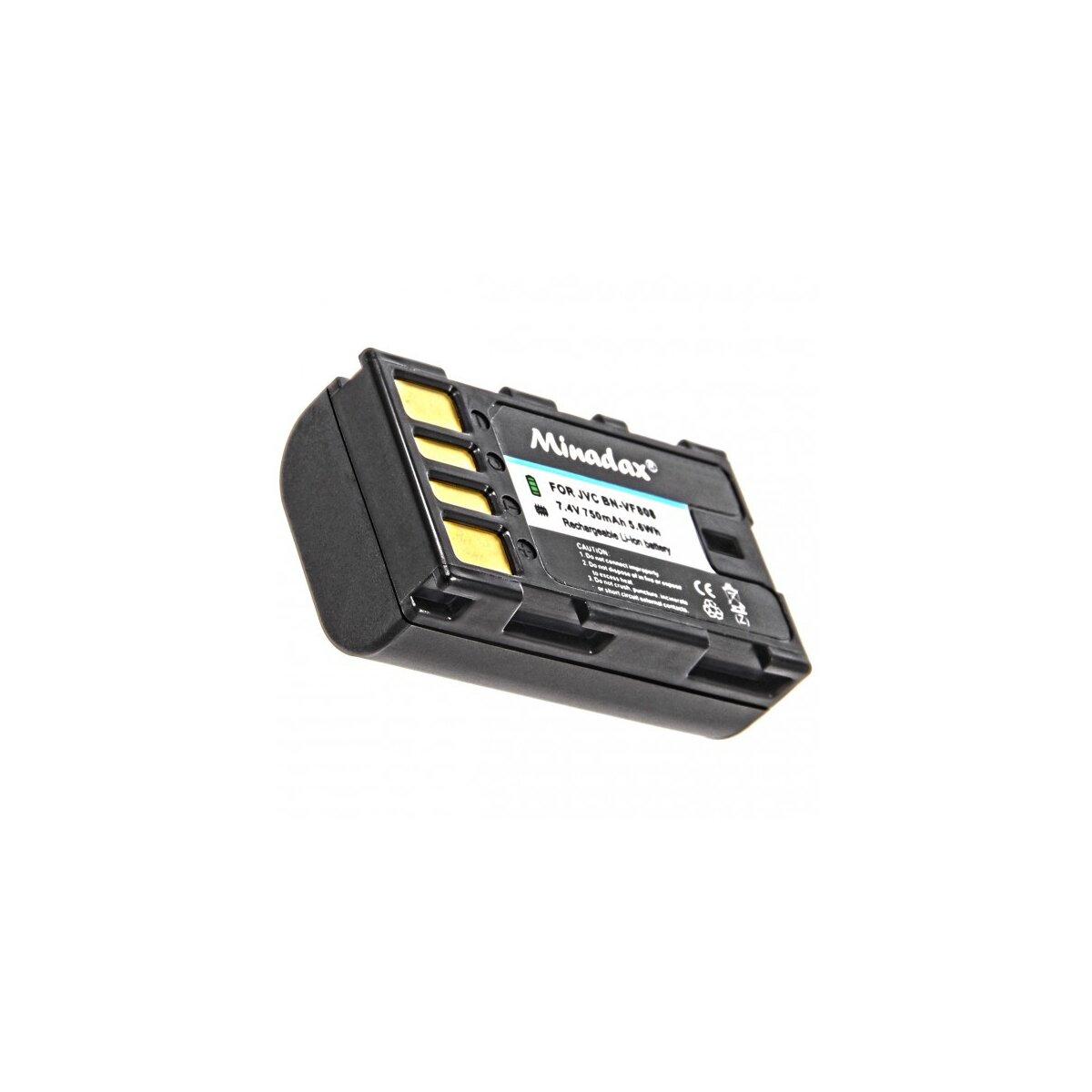 Minadax® Qualitaetsakku mit echten 750 mAh fuer JVC GR D720 720EX D725 D740 D740EX D745 D750 D760 D770 D770EX, wie BN-VF808 - Intelligentes Akkusystem mit Chip