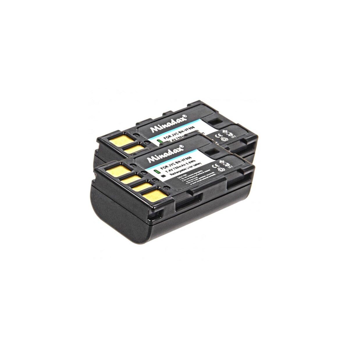 2x Minadax® Qualitaetsakku mit echten 750 mAh fuer JVC GR D720 720EX D725 D740 D740EX D745 D750 D760 D770 D770EX, wie BN-VF808 - Intelligentes Akkusystem mit Chip