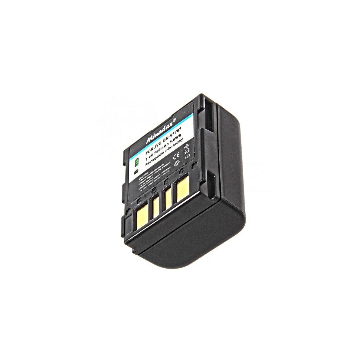 Minadax® Qualitaetsakku mit echten 750 mAh fuer JVC GR-DF420 GR-DF420EX GR-DF425 GR-DF425E GR-DF450 GR-DF450U GR-DF470 GR-DF520 GR-DF540 GR-DF540EX GR-DF550 GR-DF565 GR-DF 570 GR-DF590, wie BN-VF707 - Intelligentes Akkusystem mit Chip