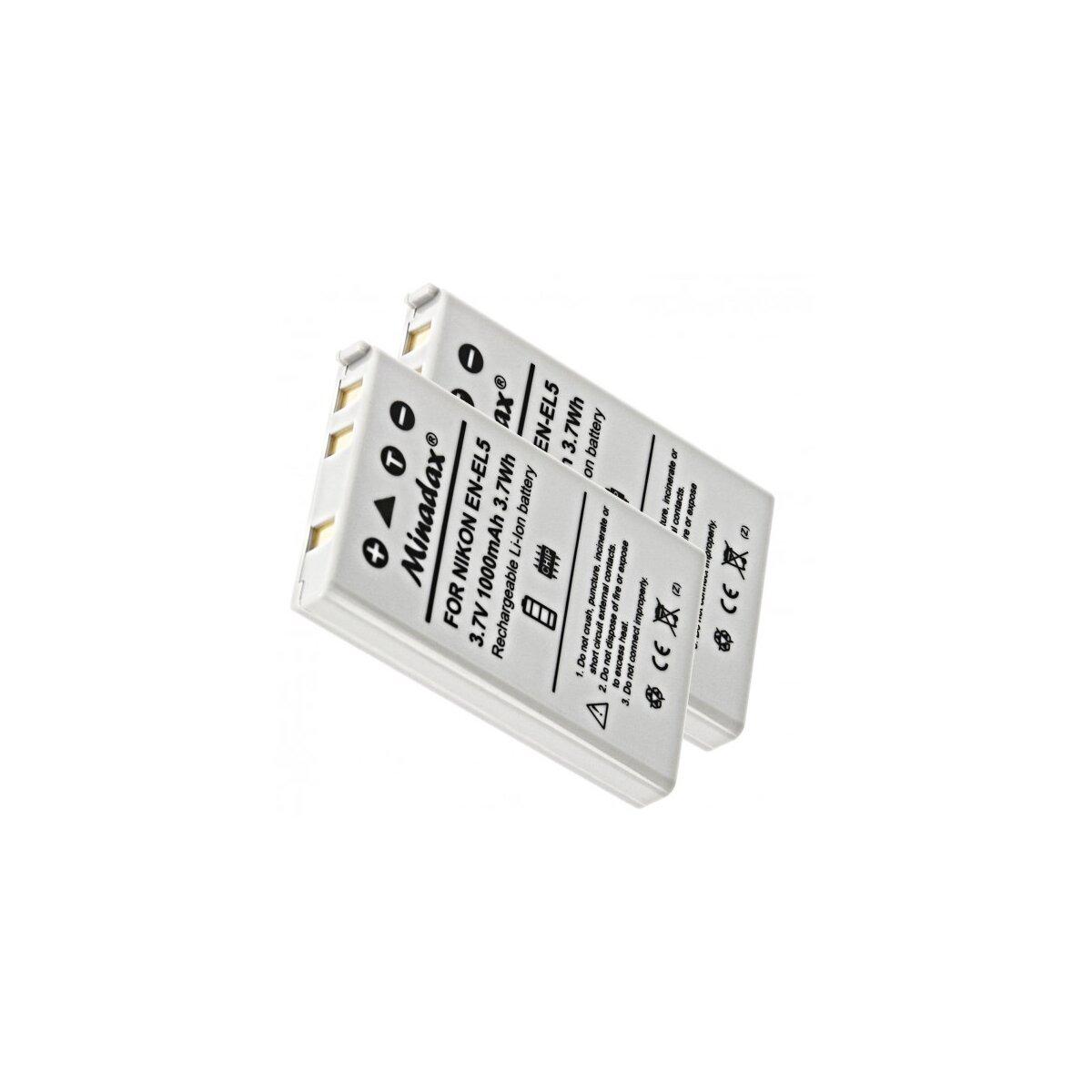 Minadax® 2x Qualitätsakku mit echten 1000 mAh kompatibel mit Nikon C3700 4200 5200 5900 7900 P3 P4 S10 P5000 P510 P520, Ersatz für EN-EL5 - Intelligentes Akkusystem mit Chip