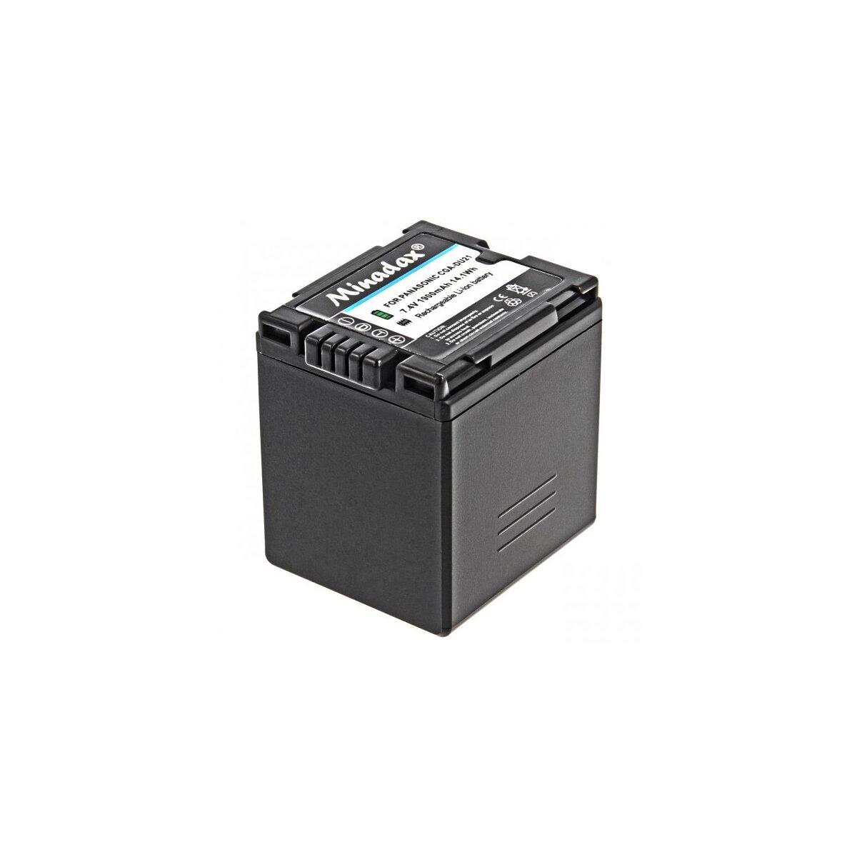 Minadax® Qualitaetsakku mit echten 1900 mAh fuer Panasonic VDR D100 D150 D160 D220 D250 D300 D310 M30 M50 M53 M55 M70 M75 M95, wie CGA-DU21 - Intelligentes Akkusystem mit Chip