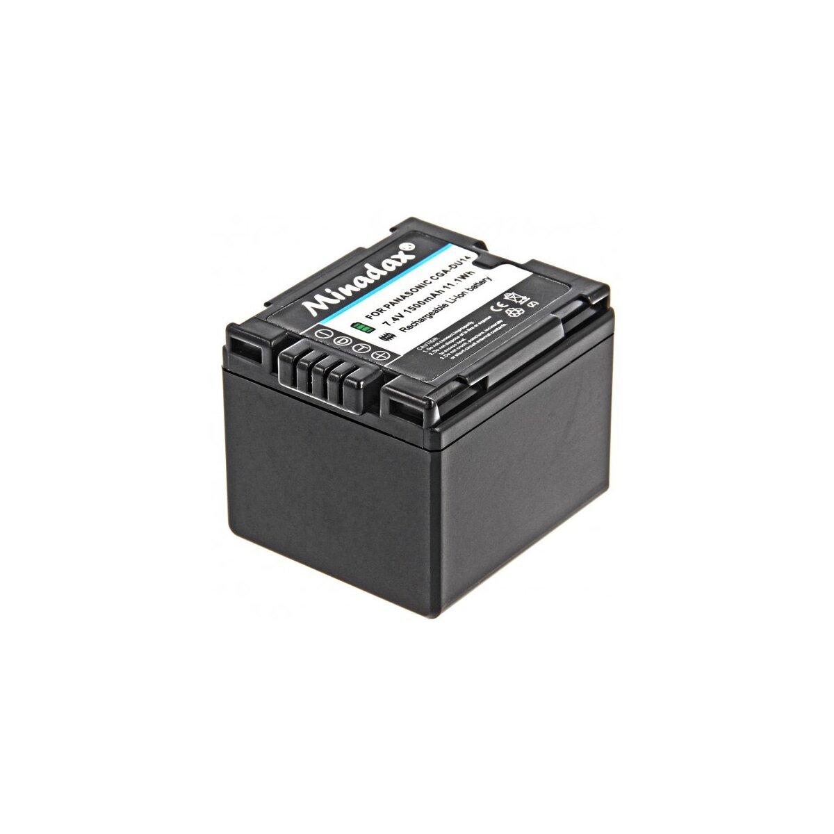 Minadax® Qualitaetsakku mit echten 1500 mAh fuer Panasonic NV-GS10 GS150 GS180 GS200 GS22 GS230 GS25 GS250 GS27 GS35 GS60 GS75, wie CGA-DU14 - Intelligentes Akkusystem mit Chip