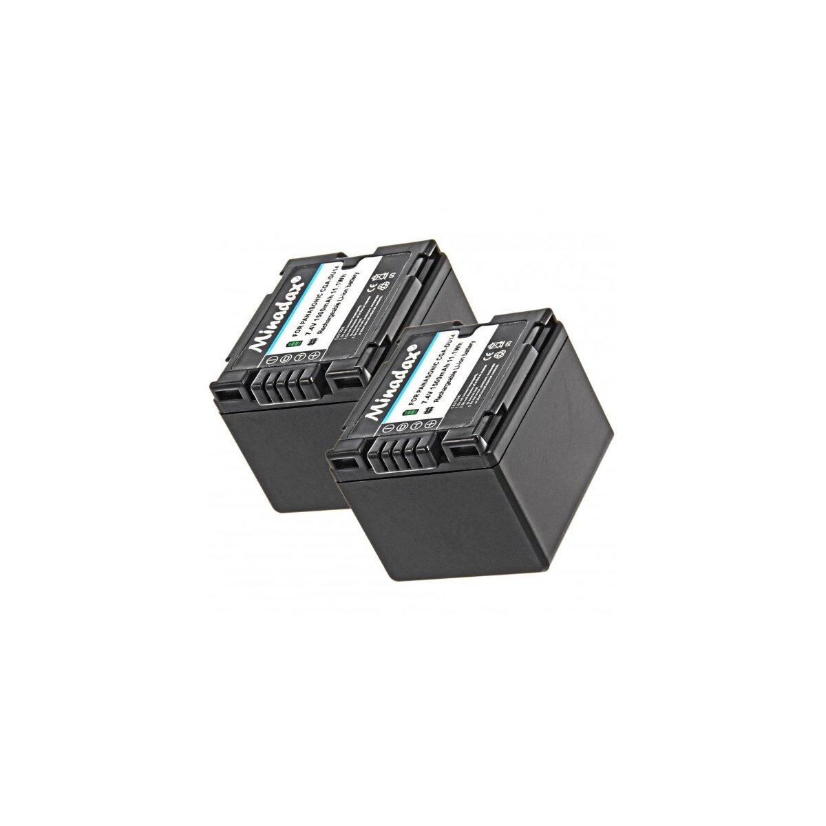 2x Minadax® Qualitaetsakku mit echten 1500 mAh fuer Panasonic NV-GS10 GS150 GS180 GS200 GS22 GS230 GS25 GS250 GS27 GS35 GS60 GS75, wie CGA-DU14 - Intelligentes Akkusystem mit Chip