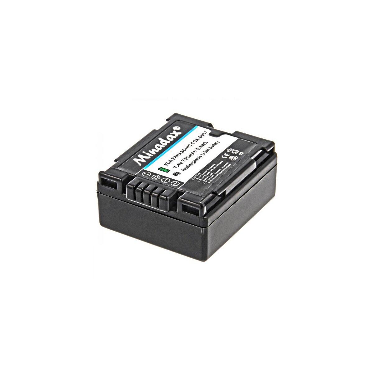 Minadax® Qualitaetsakku mit echten 750 mAh fuer Panasonic NV GS10 GS17 GS17EG GS21 GS22 GS27 GS30 GS33 GS35 GS50 GS55K GS60, wie CGA DU07 - Intelligentes Akkusystem mit Chip