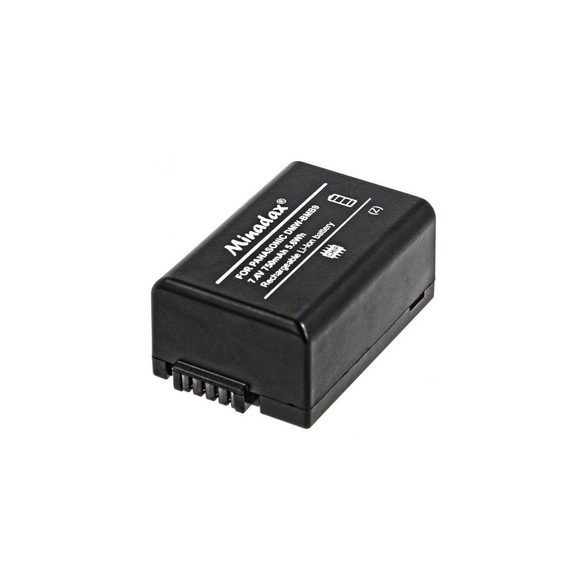 Minadax® Qualitätsakku mit echten 750 mAh kompatibel mit Panasonic Lumix DMC FZ72 FZ62 FZ45 FZ48 FZ100 FZ150, Ersatz für DMW BMB9 - Intelligentes Akkusystem mit Chip
