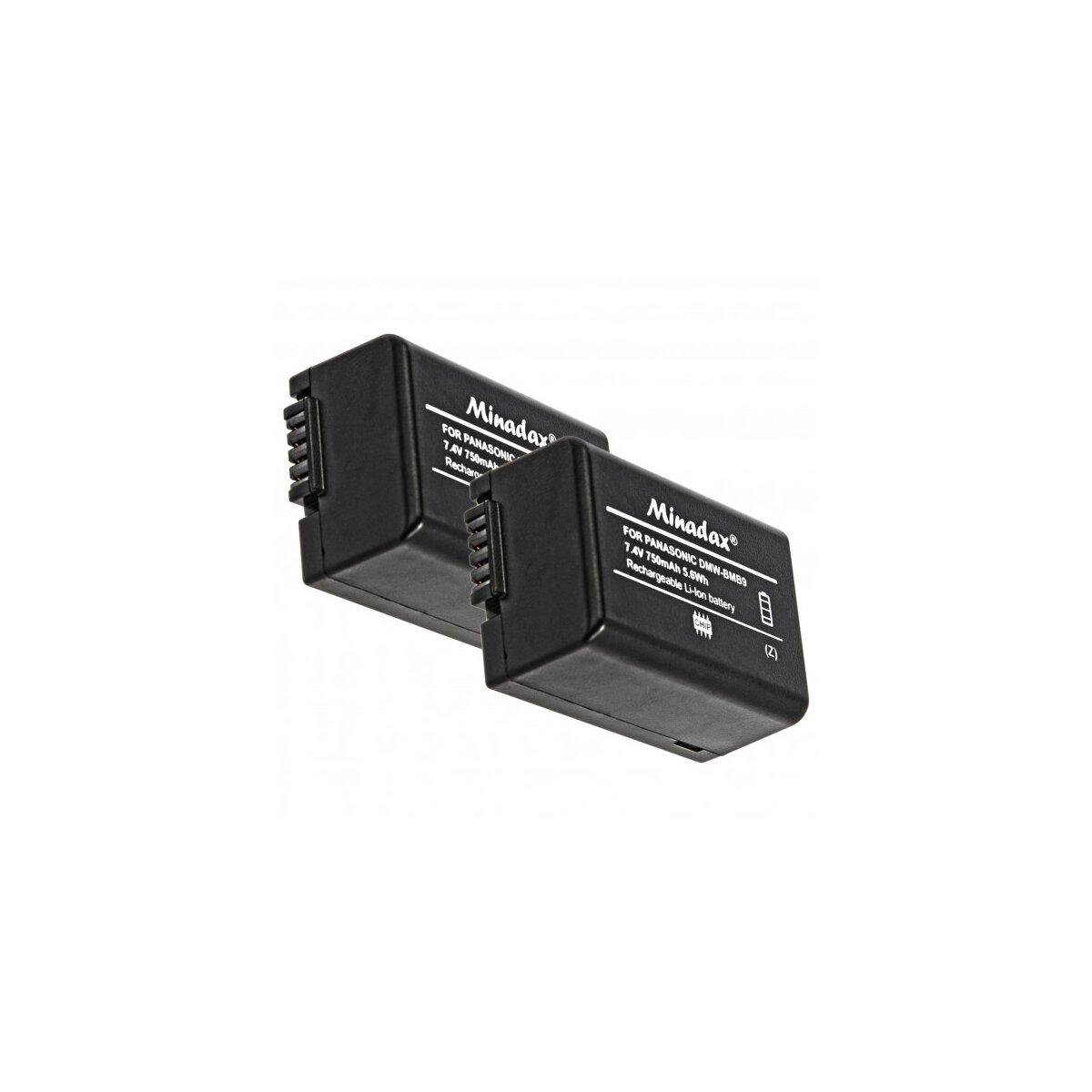 2x Minadax® Qualitaetsakku mit echten 750 mAh fuer Panasonic Lumix DMC FZ72 FZ62 FZ45 FZ48 FZ100 FZ150, wie DMW BMB9 - Intelligentes Akkusystem mit Chip