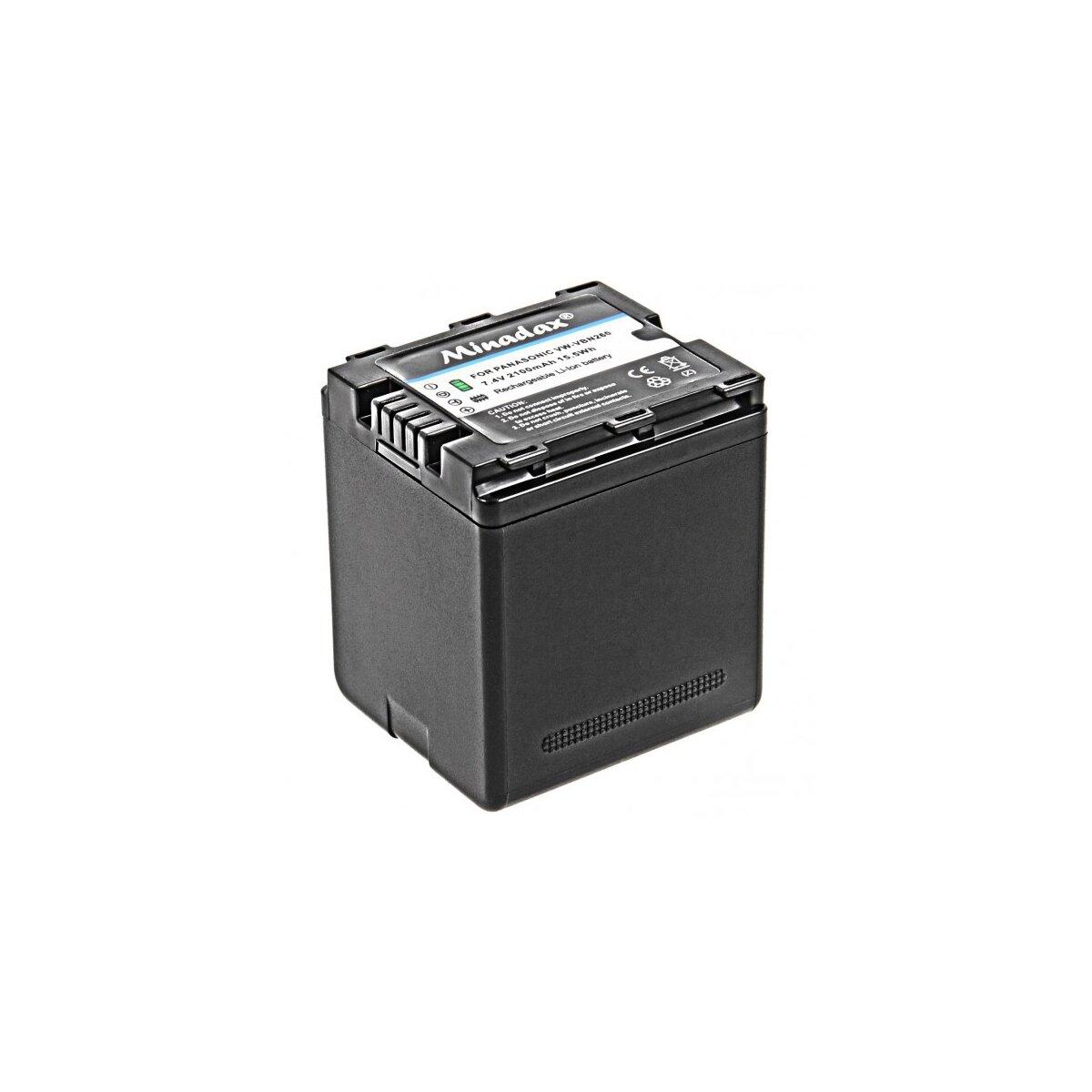 Minadax® Qualitaetsakku mit echten 2100 mAh fuer Panasonic HDC SD800 SD900 SD909 TM900 HS900  HC X929 X810 X909 X900 X800, wie VW VBN260 - Intelligentes Akkusystem mit Chip