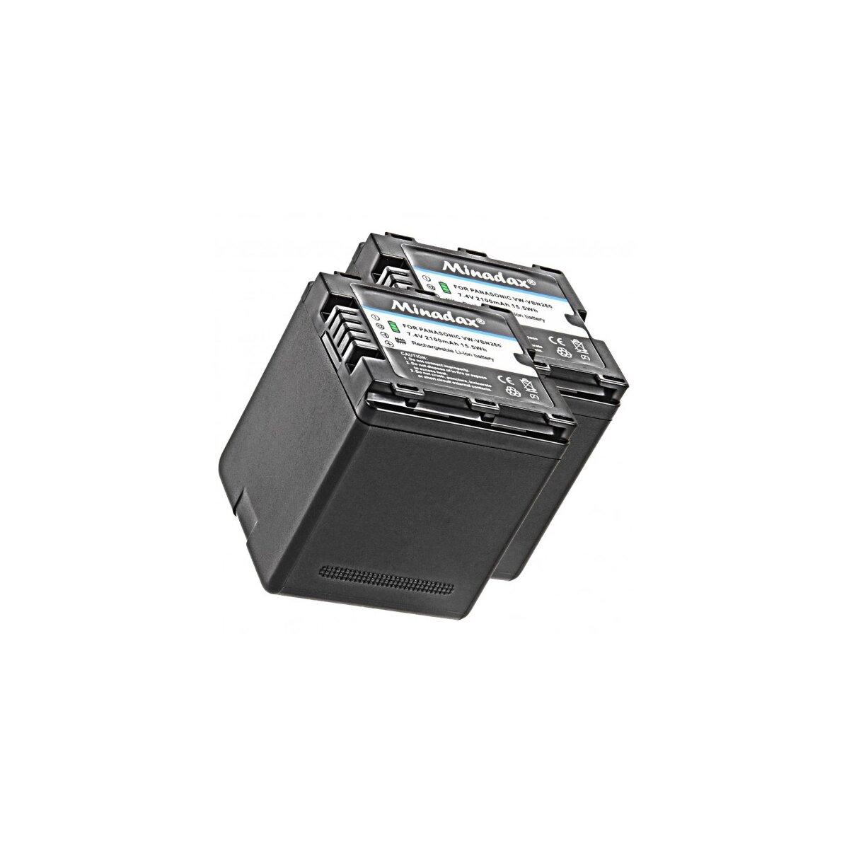 2x Minadax® Qualitaetsakku mit echten 2100 mAh fuer Panasonic HDC SD800 SD900 SD909 TM900 HS900  HC X929 X810 X909 X900 X800, wie VW VBN260 - Intelligentes Akkusystem mit Chip