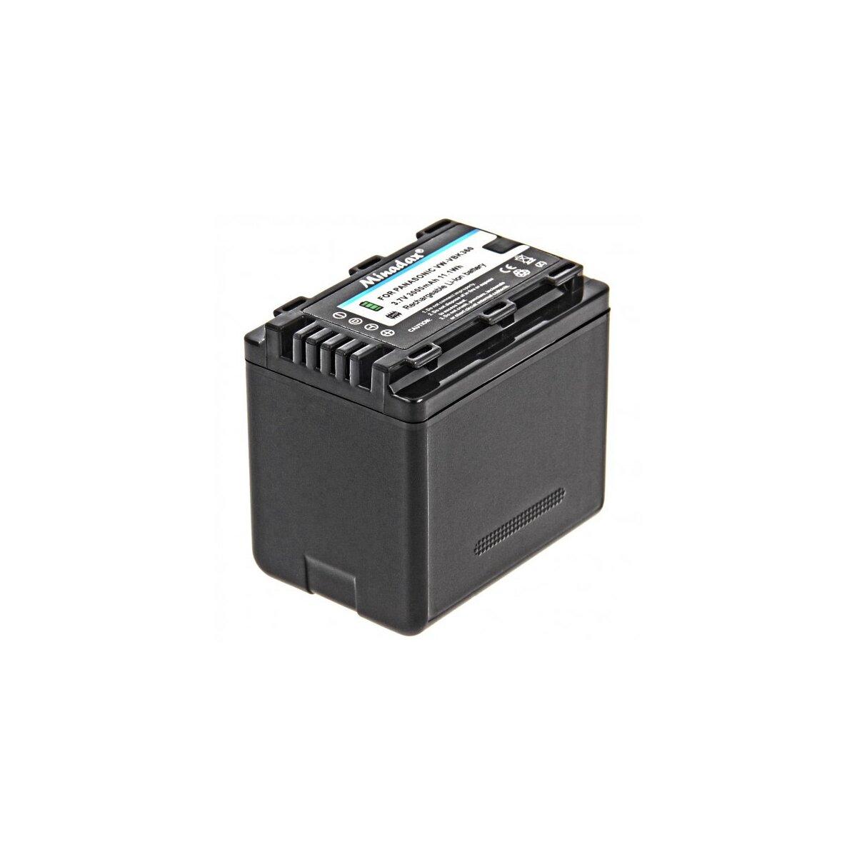 Minadax® Qualitaetsakku mit echten 3000 mAh fuer Panasonic HDC HS60 HS80 SD40 SD60 SD66 SD80 SD90 SD99 SDX1 TM40 TM55 TM60 TM80 TM90, wie VW VBK360 - Intelligentes Akkusystem mit Chip