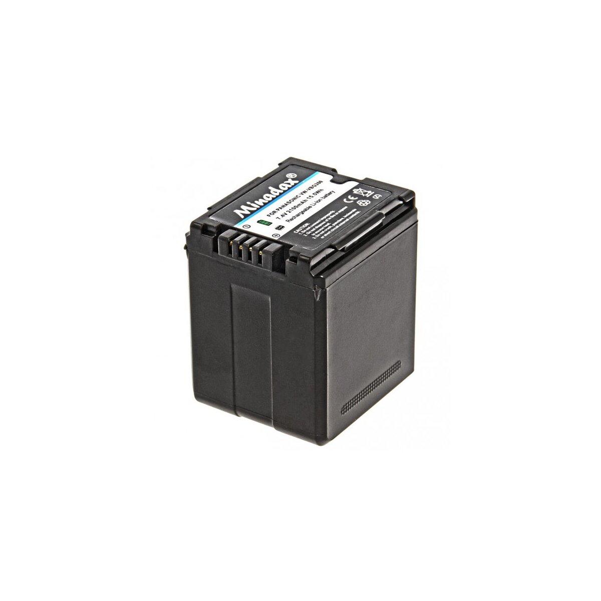 Minadax® Qualitaetsakku mit echten 2100 mAh fuer Panasonic HDC DX1 H40 GS90 SD20, wie VW VBG260 - Intelligentes Akkusystem mit Chip