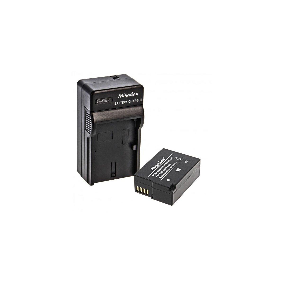 Minadax® Ladegeraet 100% kompatibel fuer Panasonic DMW-BLC12 inkl. Auto Ladekabel, Ladeschale austauschbar + 1x Akku wie DMW-BLC12