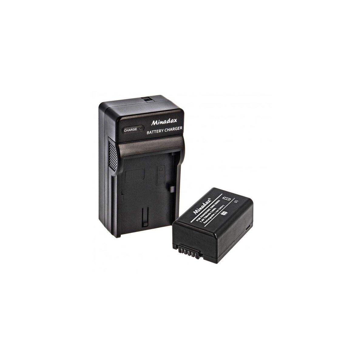 Minadax® Ladegeraet 100% kompatibel fuer Panasonic DMW-BMB9 inkl. Auto Ladekabel, Ladeschale austauschbar + 1x Akku wie DMW-BMB9