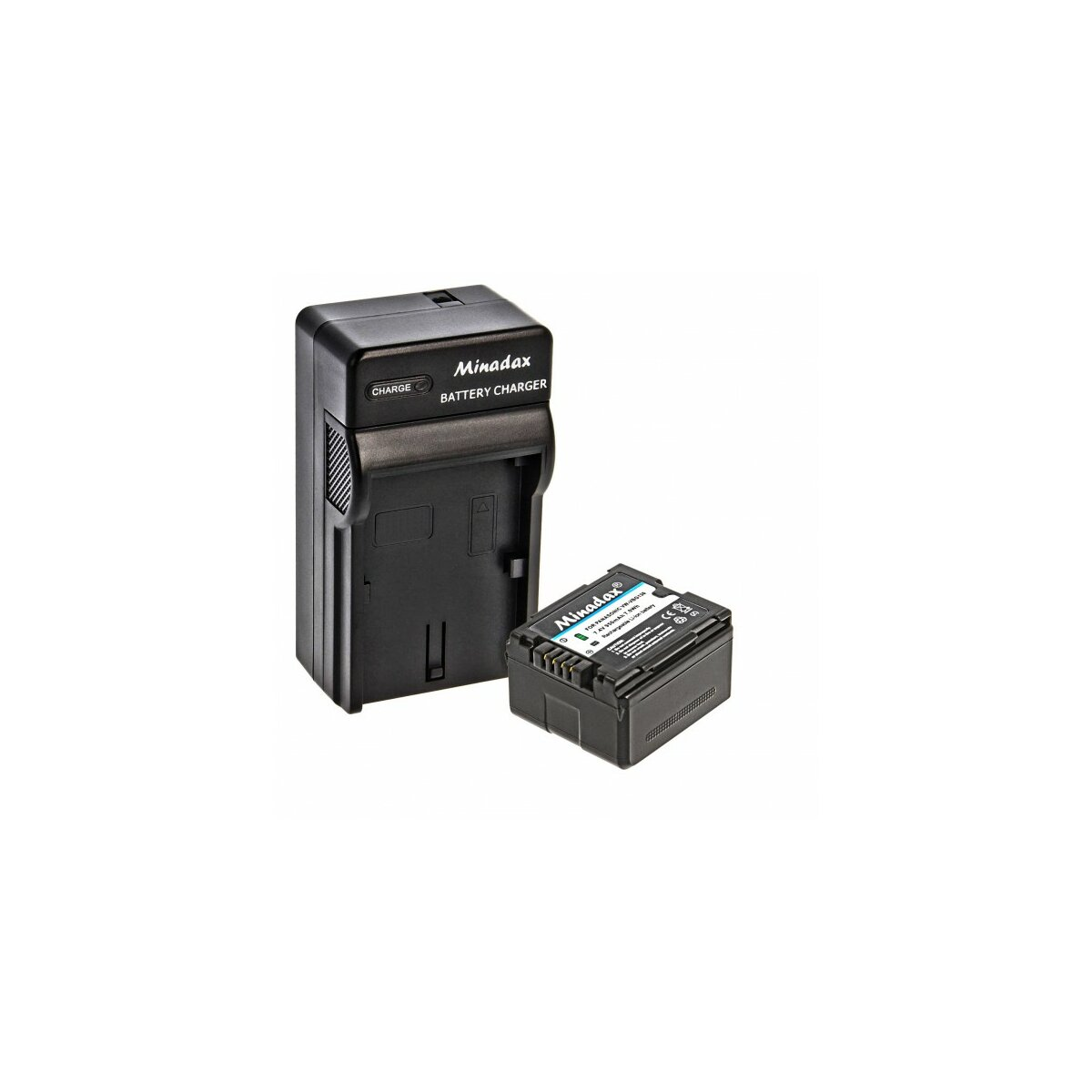 Minadax® Ladegeraet 100% kompatibel fuer Panasonic VW-VBG130 inkl. Auto Ladekabel, Ladeschale austauschbar + 1x Akku wie VW-VBG130