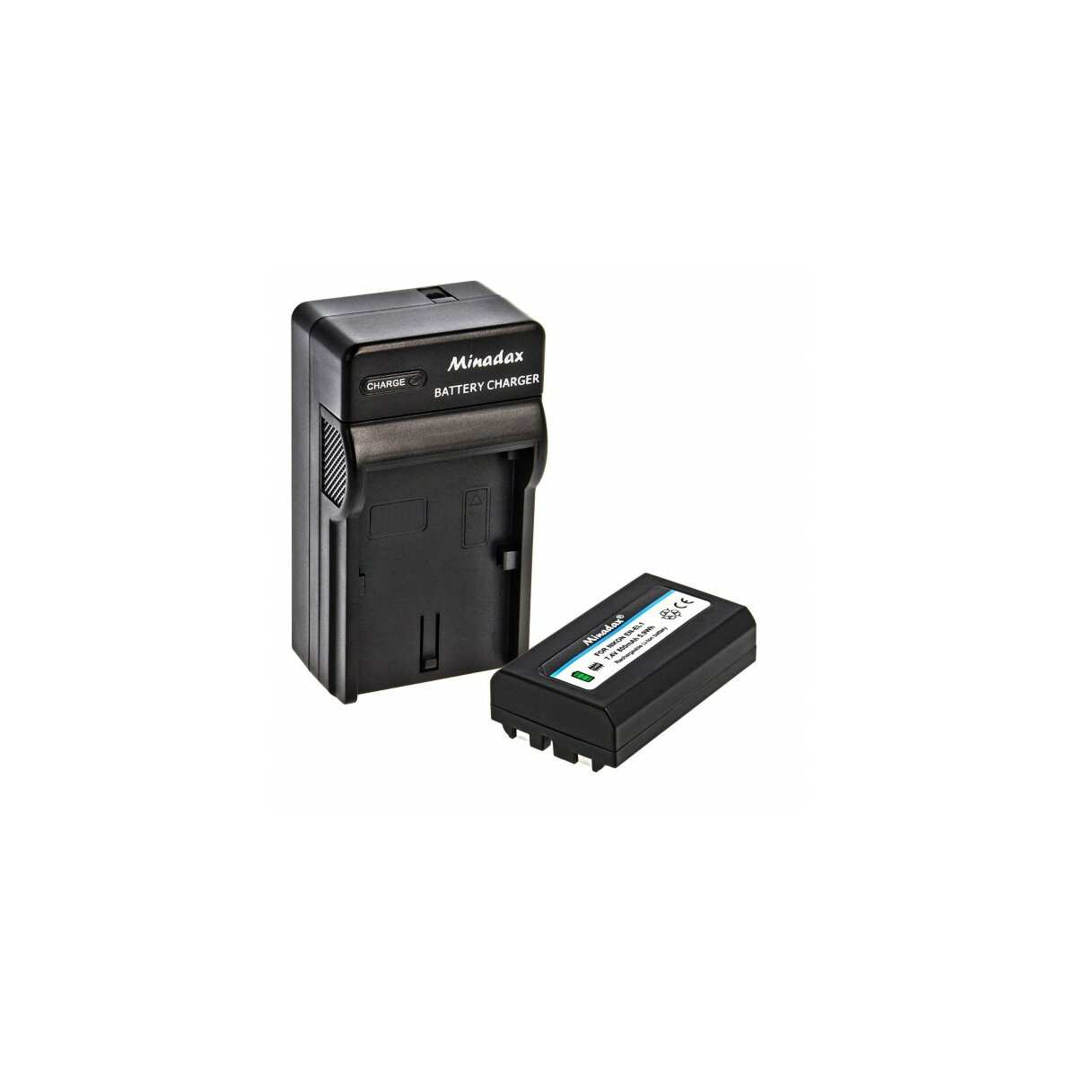 Minadax® Ladegerät 100% kompatibel mit Nikon EN-EL1 inkl. Auto Ladekabel, Ladeschale austauschbar + 1x Akku Ersatz für EN-EL1