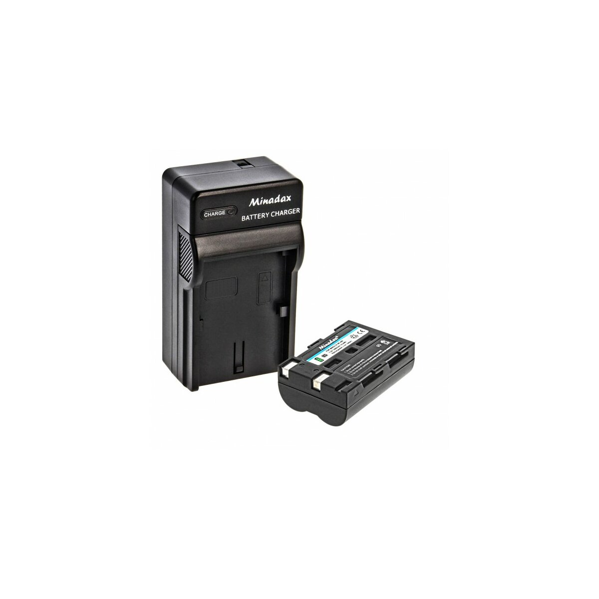 Minadax® Ladegeraet 100% kompatibel fuer Minolta NP-400 inkl. Auto Ladekabel, Ladeschale austauschbar + 1x Akku wie NP-400