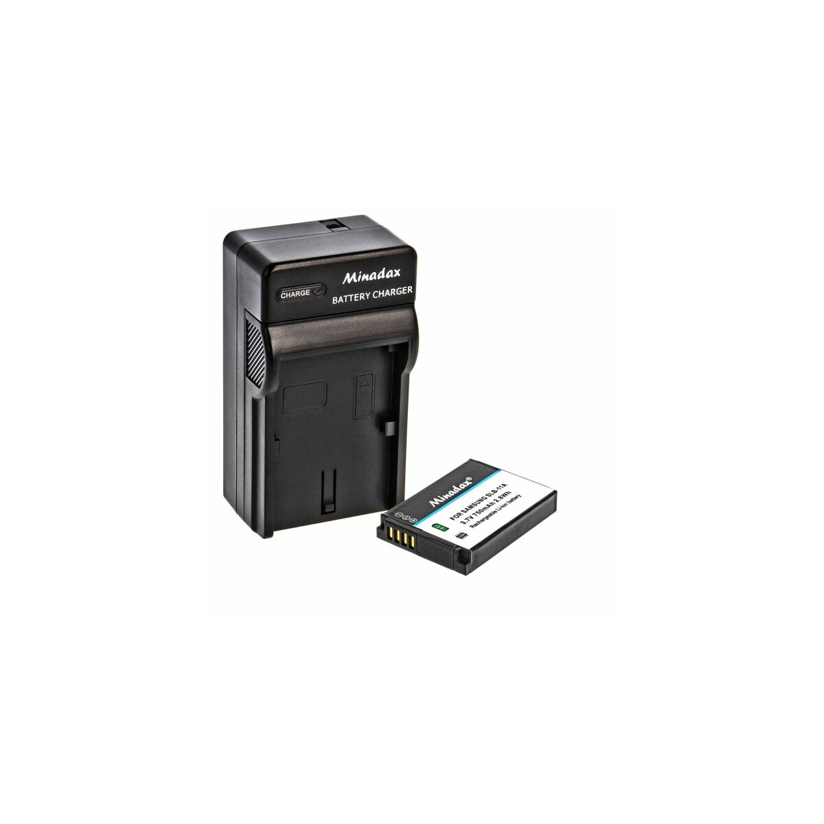Minadax® Ladegeraet 100% kompatibel fuer Samsung SLB-11A inkl. Auto Ladekabel, Ladeschale austauschbar + 1x Akku wie SLB-11A