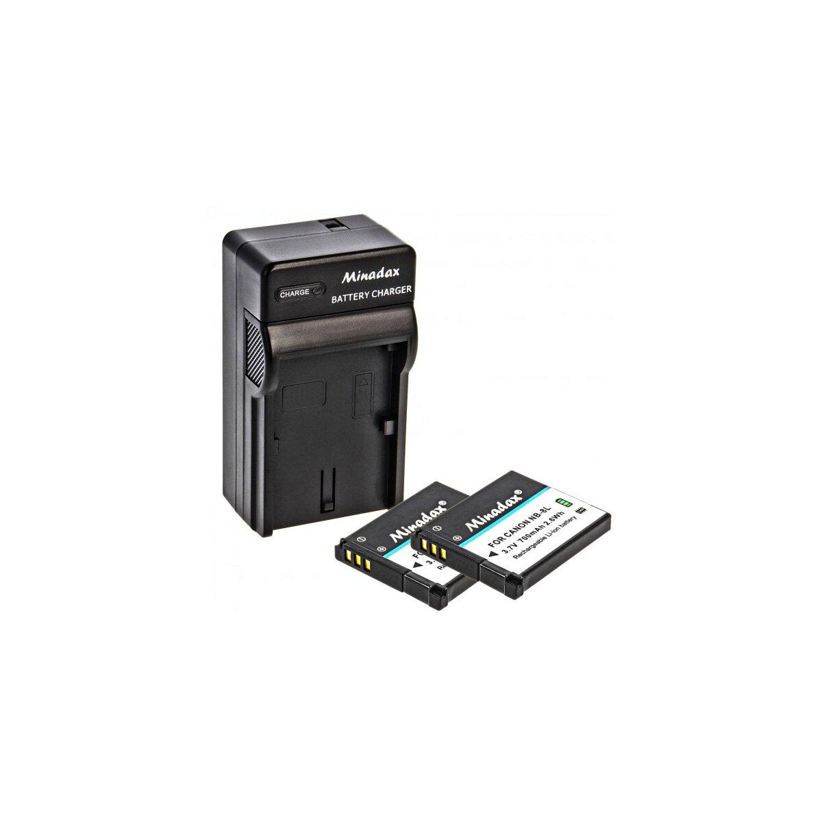 Minadax® Ladegerät 100% kompatibel kompatibel mit Canon NB-8L inkl. Auto Ladekabel, Ladeschale austauschbar + 2x Akku Ersatz für NB-8L