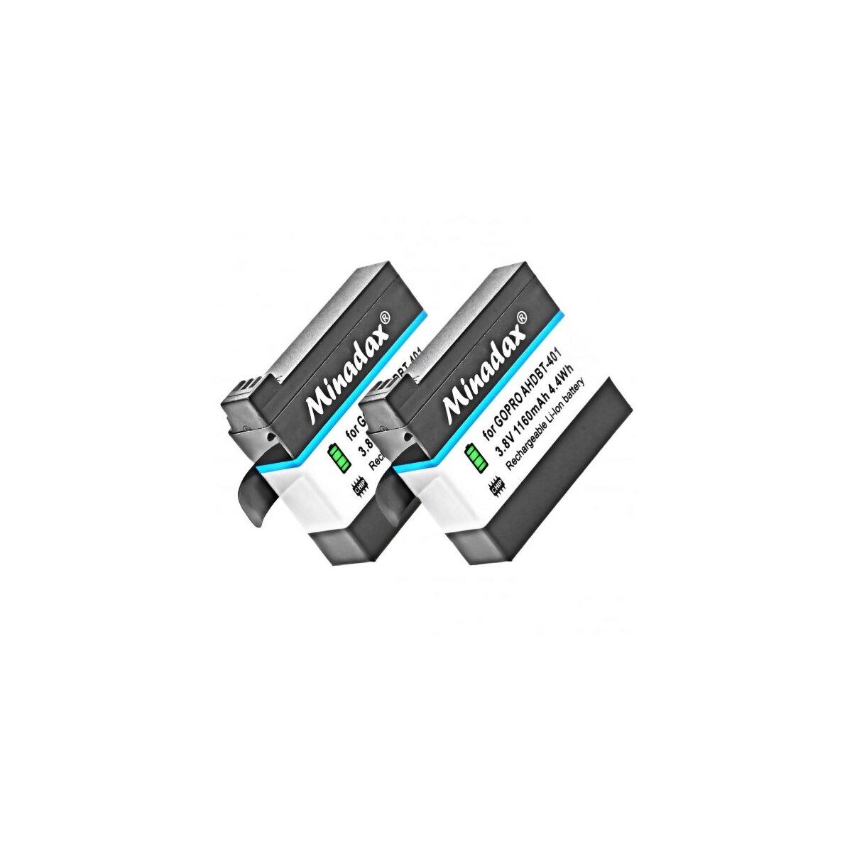 2x Minadax Qualitätsakku mit echten 1160mAh kompatibel für GoPro Hero 4 Ersatz für AHDBT-401 - Intelligentes Akkusystem mit Chip