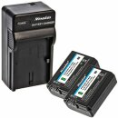 Minadax® Ladegerät 100% kompatibel mit Sony NP-FW50 inkl. Auto Ladekabel, Ladeschale austauschbar + 2x Akku Ersatz für NP-FW50