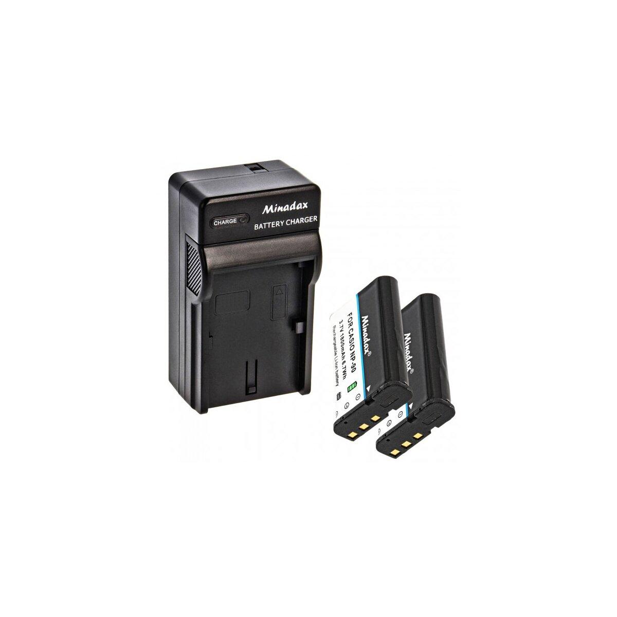 Minadax® Ladegerät 100% kompatibel mit Casio NP-90 inkl. Auto Ladekabel, Ladeschale austauschbar + 2x Akku Ersatz für NP-90