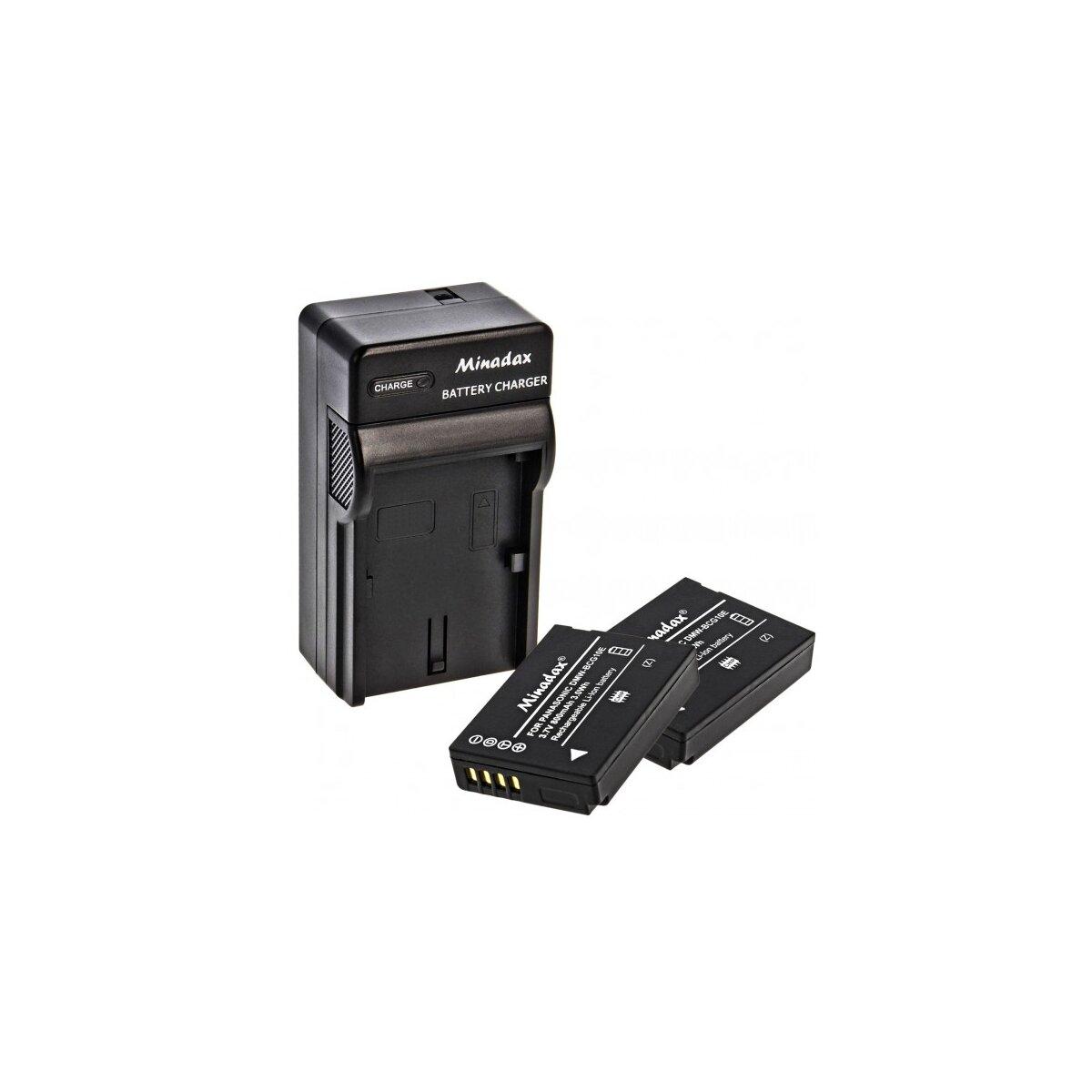 Minadax® Ladegeraet 100% kompatibel fuer Panasonic DMW-BCG10E inkl. Auto Ladekabel, Ladeschale austauschbar + 2x Akku wie DMW-BCG10E