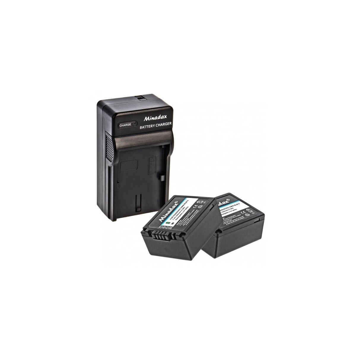 Minadax® Ladegeraet 100% kompatibel fuer Panasonic DMW-BLB13 inkl. Auto Ladekabel, Ladeschale austauschbar + 2x Akku wie DMW-BLB13