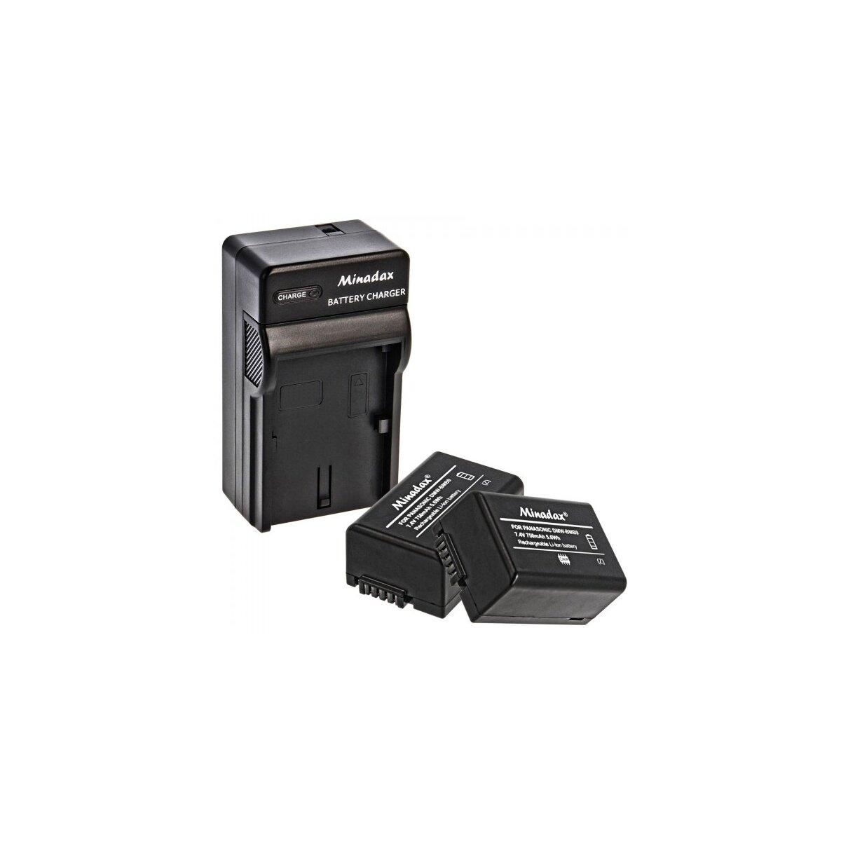Minadax® Ladegeraet 100% kompatibel fuer Panasonic DMW-BMB9 inkl. Auto Ladekabel, Ladeschale austauschbar + 2x Akku wie DMW-BMB9