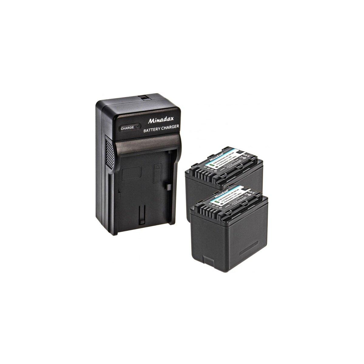 Minadax® Ladegeraet 100% kompatibel fuer Panasonic VW-VBK360 inkl. Auto Ladekabel, Ladeschale austauschbar + 2x Akku wie VW-VBK360