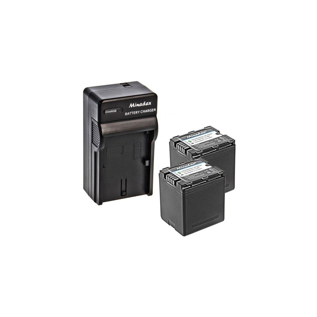 Minadax® Ladegerät 100% kompatibel mit Panasonic VW-VBN260 inkl. Auto Ladekabel, Ladeschale austauschbar + 2x Akku Ersatz für VW-VBN260